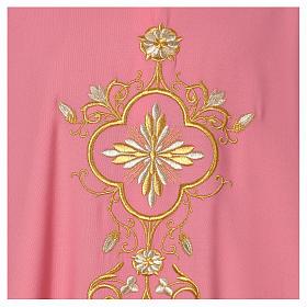 Casula rosa 100% lana decorazioni dorate