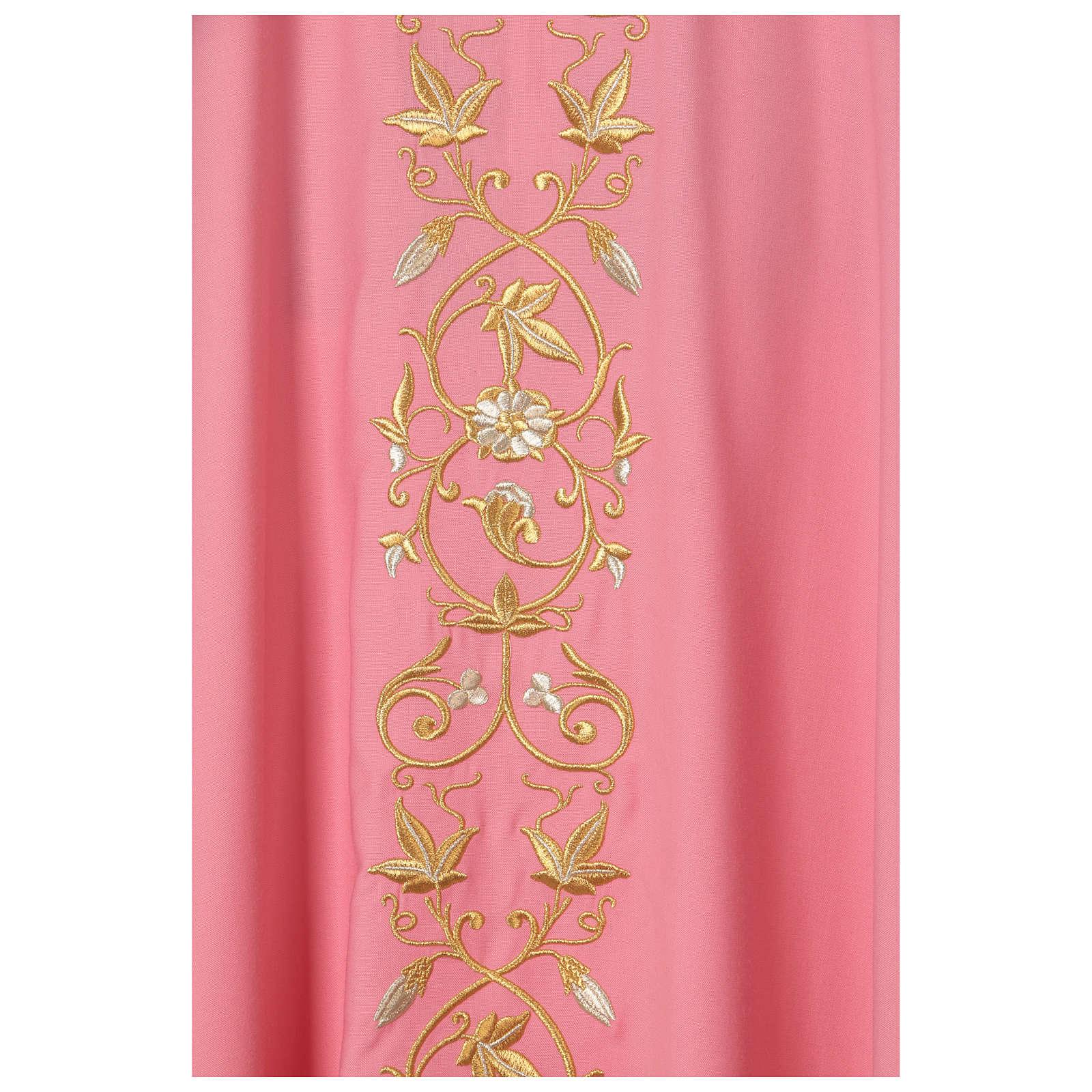 Casula Rosa 100% Lã Decorações Douradas 4