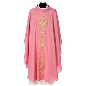 Casula Rosa 100% Lã Decorações Douradas s1