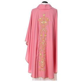 Casula Rosa 100% Lã Decorações Douradas s5