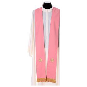 Casula Rosa 100% Lã Decorações Douradas s6