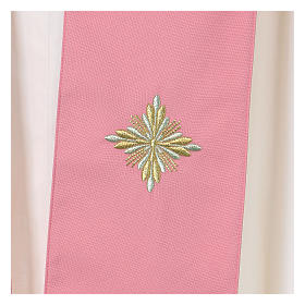 Casula Rosa 100% Lã Decorações Douradas s7