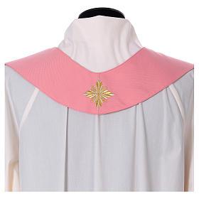 Casula Rosa 100% Lã Decorações Douradas s8