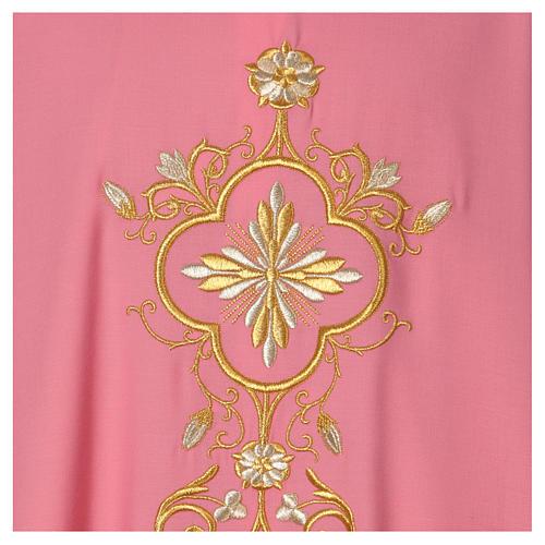 Casula Rosa 100% Lã Decorações Douradas 2