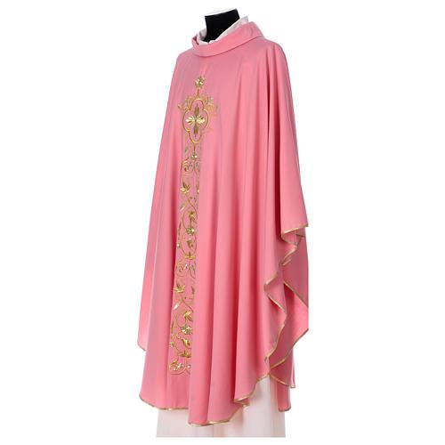 Casula Rosa 100% Lã Decorações Douradas 3