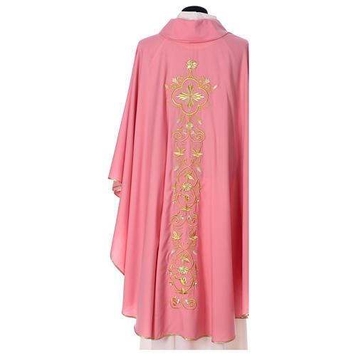 Casula Rosa 100% Lã Decorações Douradas 5