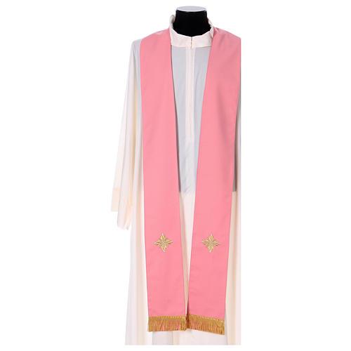 Casula Rosa 100% Lã Decorações Douradas 6