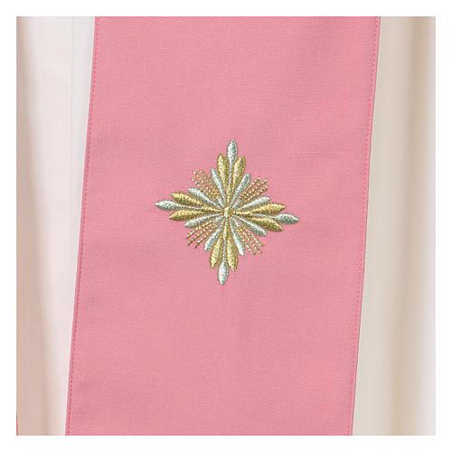 Casula Rosa 100% Lã Decorações Douradas 7