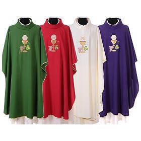 Casula liturgica con grappolo, calice e ostia IHS100% poliestere