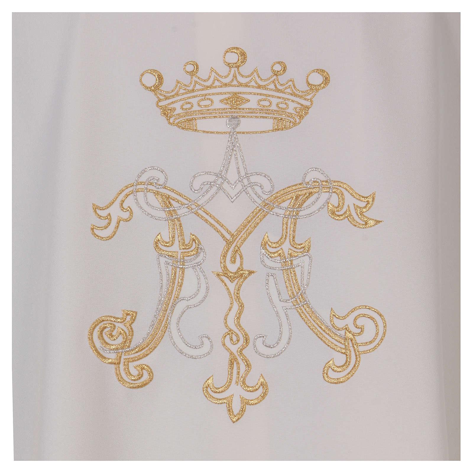 Casulla bordada símbolo mariano 100% poliéster 4