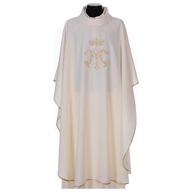 Casulla bordada símbolo mariano 100% poliéster s1