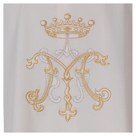 Casulla bordada símbolo mariano 100% poliéster s2