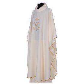 Casulla bordada símbolo mariano 100% poliéster s3