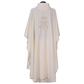 Casulla bordada símbolo mariano 100% poliéster s4