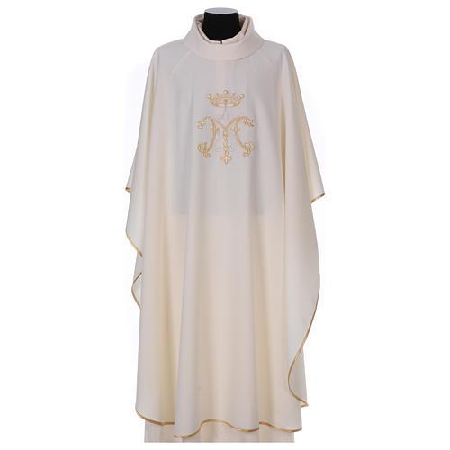 Casulla bordada símbolo mariano 100% poliéster 1