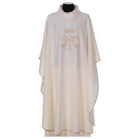 Chausuble with embroidered Marian symbol, 100% polyester s1