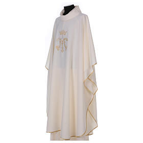 Chausuble with embroidered Marian symbol, 100% polyester s3