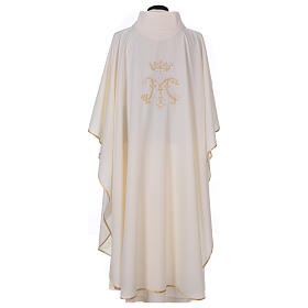 Chausuble with embroidered Marian symbol, 100% polyester s4