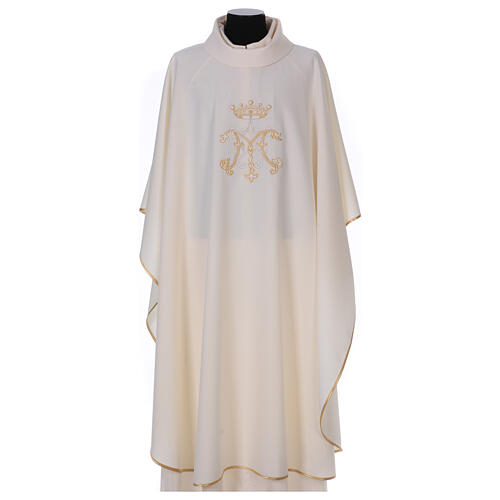 Chausuble with embroidered Marian symbol, 100% polyester 1