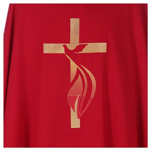 Chasuble colombe et flamme Saint Esprit en polyester