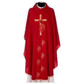 Casula colomba e fiamma Spirito Santo in poliestere s1