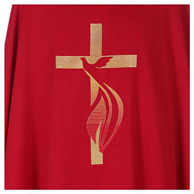 Casula colomba e fiamma Spirito Santo in poliestere s2