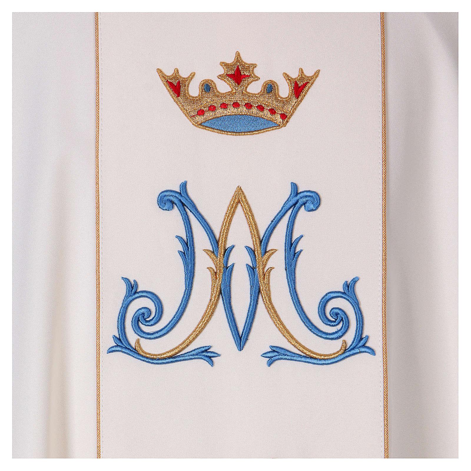 Casulla mariana motivo oro y azul 4