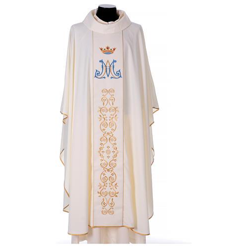 Casulla mariana motivo oro y azul 1