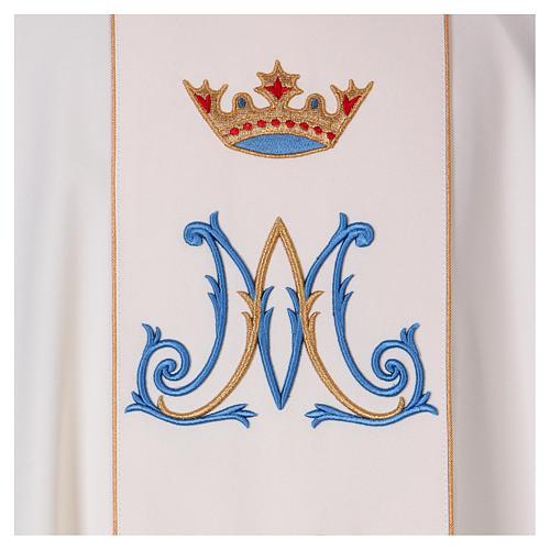 Casulla mariana motivo oro y azul 2