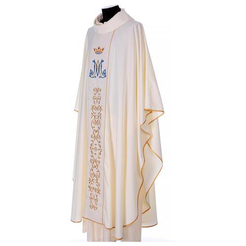 Casulla mariana motivo oro y azul 3