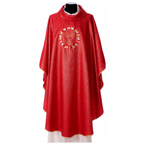Chasuble rouge colombe dans un cercle 100% polyester