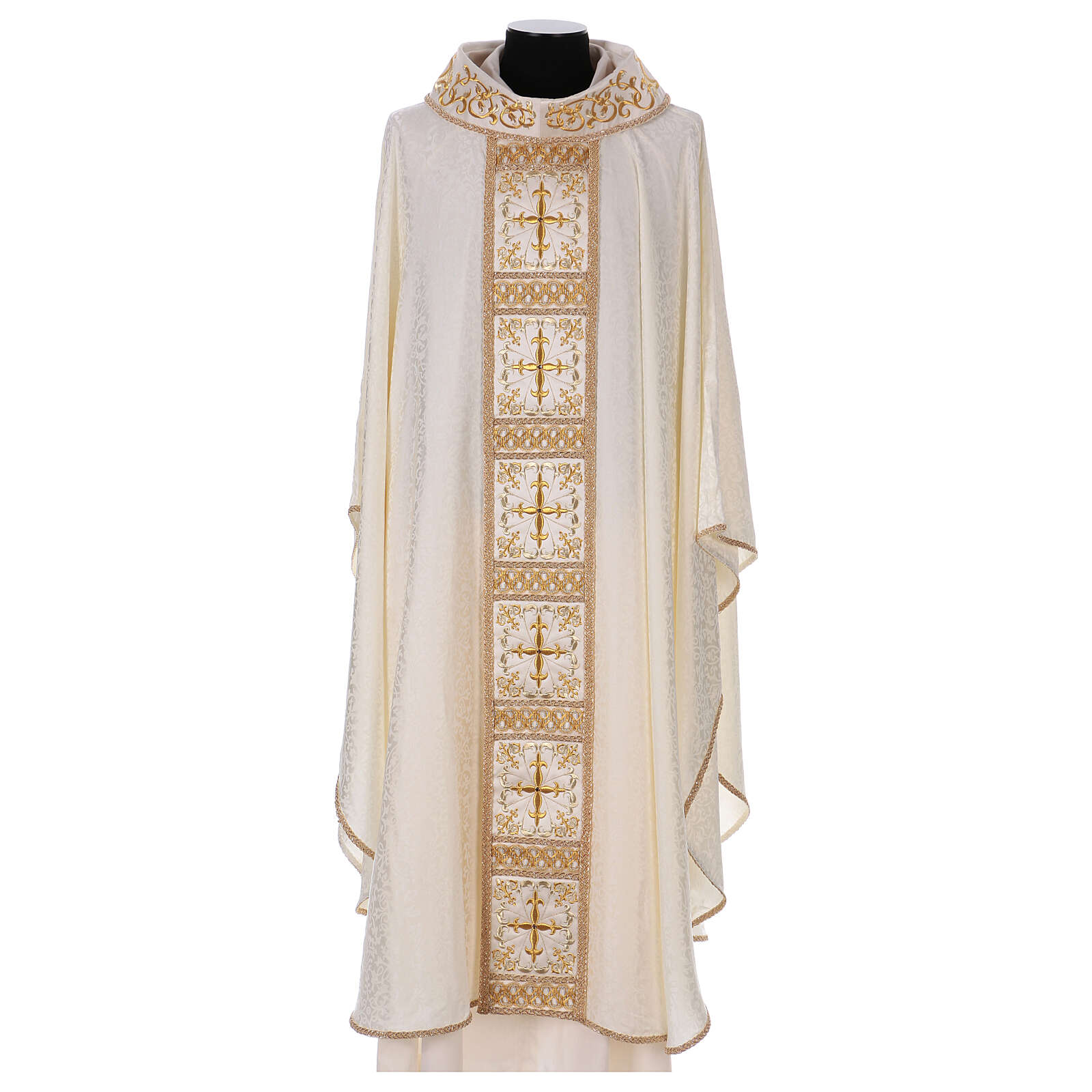 Chasuble with gold cross and stole, 64% acetate 36% viscose 4