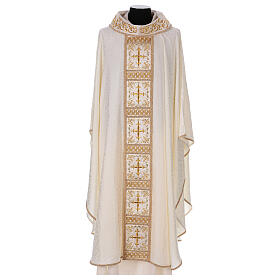 Chasuble with gold cross and stole, 64% acetate 36% viscose s1
