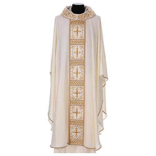 Chasuble with gold cross and stole, 64% acetate 36% viscose 1