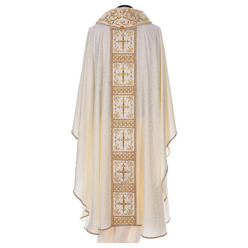 Chasuble with gold cross and stole, 64% acetate 36% viscose 5