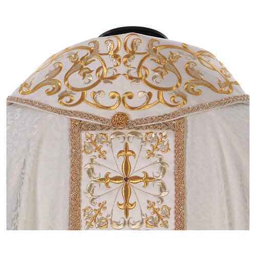 Chasuble with gold cross and stole, 64% acetate 36% viscose 6