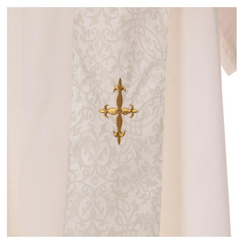 Chasuble with gold cross and stole, 64% acetate 36% viscose 8