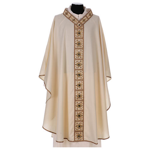 Chasuble with rigid V neckline 100% wool 1