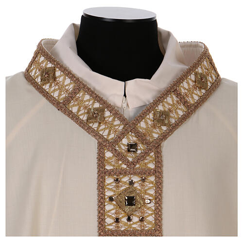 Chasuble with rigid V neckline 100% wool 3