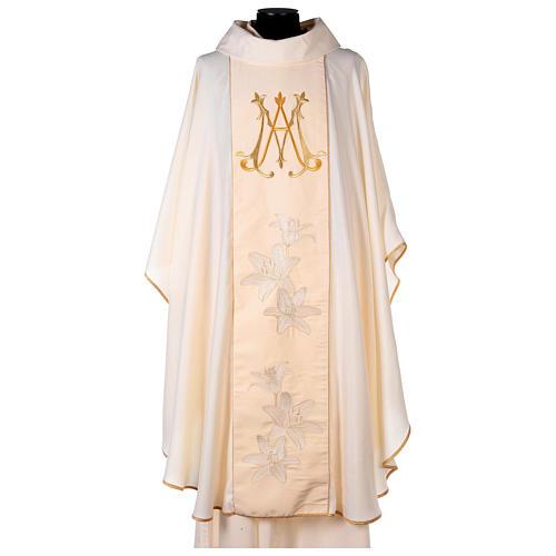 Casulla Mariana marfil lirios dorados monograma María 1