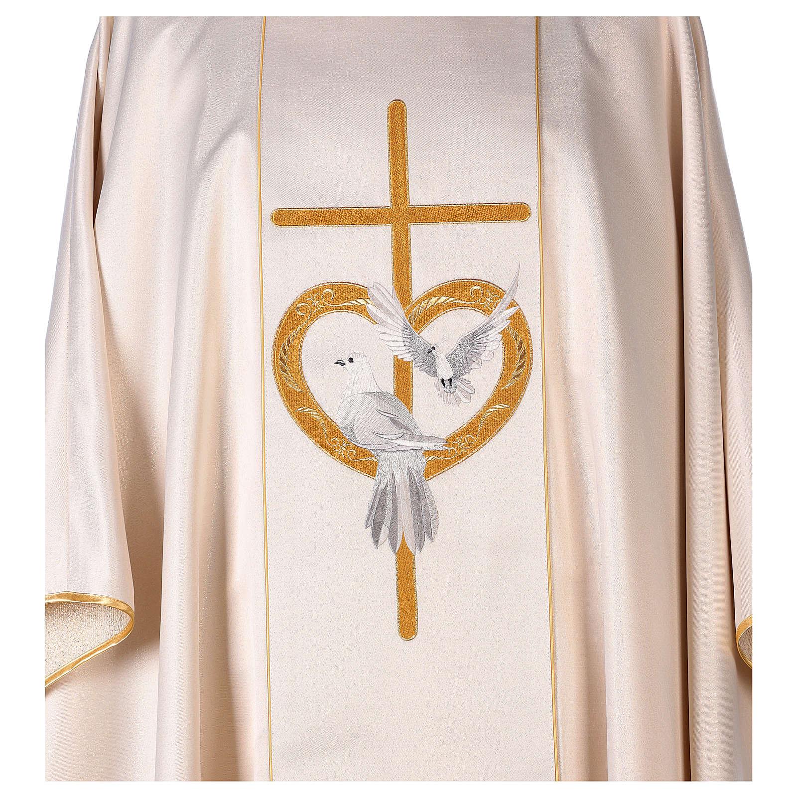 Casula ricamo croce colombe poliestere 4