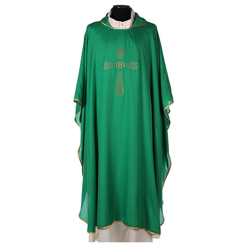 Ultralight Chasuble 100% polyester 4 colours IHS cross rays OFFER 3