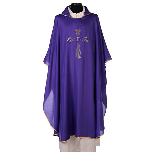 Ultralight Chasuble 100% polyester 4 colours IHS cross rays OFFER 8