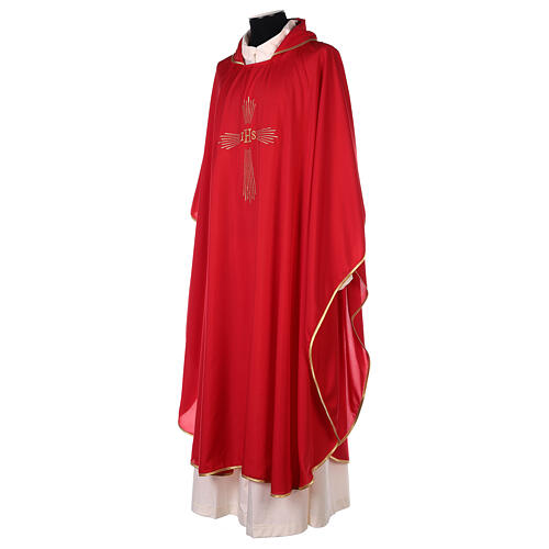 Ultralight Chasuble 100% polyester 4 colours IHS cross rays OFFER 9