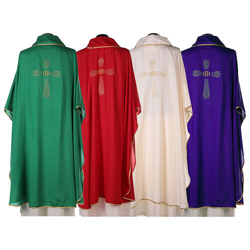 Ultralight Chasuble 100% polyester 4 colours IHS cross rays OFFER 10