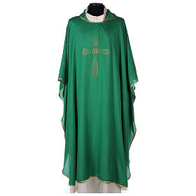 Chasuble 100% polyester 4 couleurs IHS croix rayons s1