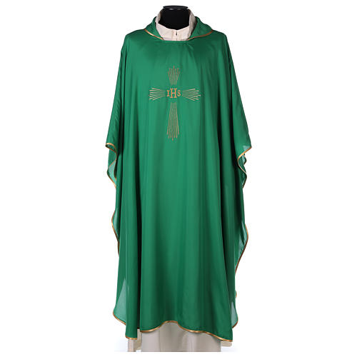 Chasuble 100% polyester 4 couleurs IHS croix rayons 1