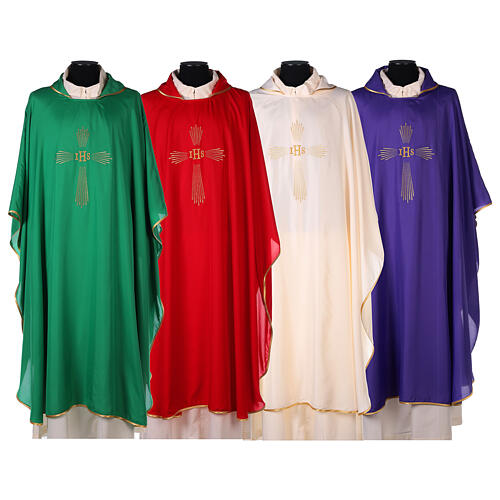 Chasuble 100% polyester 4 couleurs IHS croix rayons REDUCTION 1