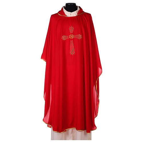 Chasuble 100% polyester 4 couleurs IHS croix rayons REDUCTION 5