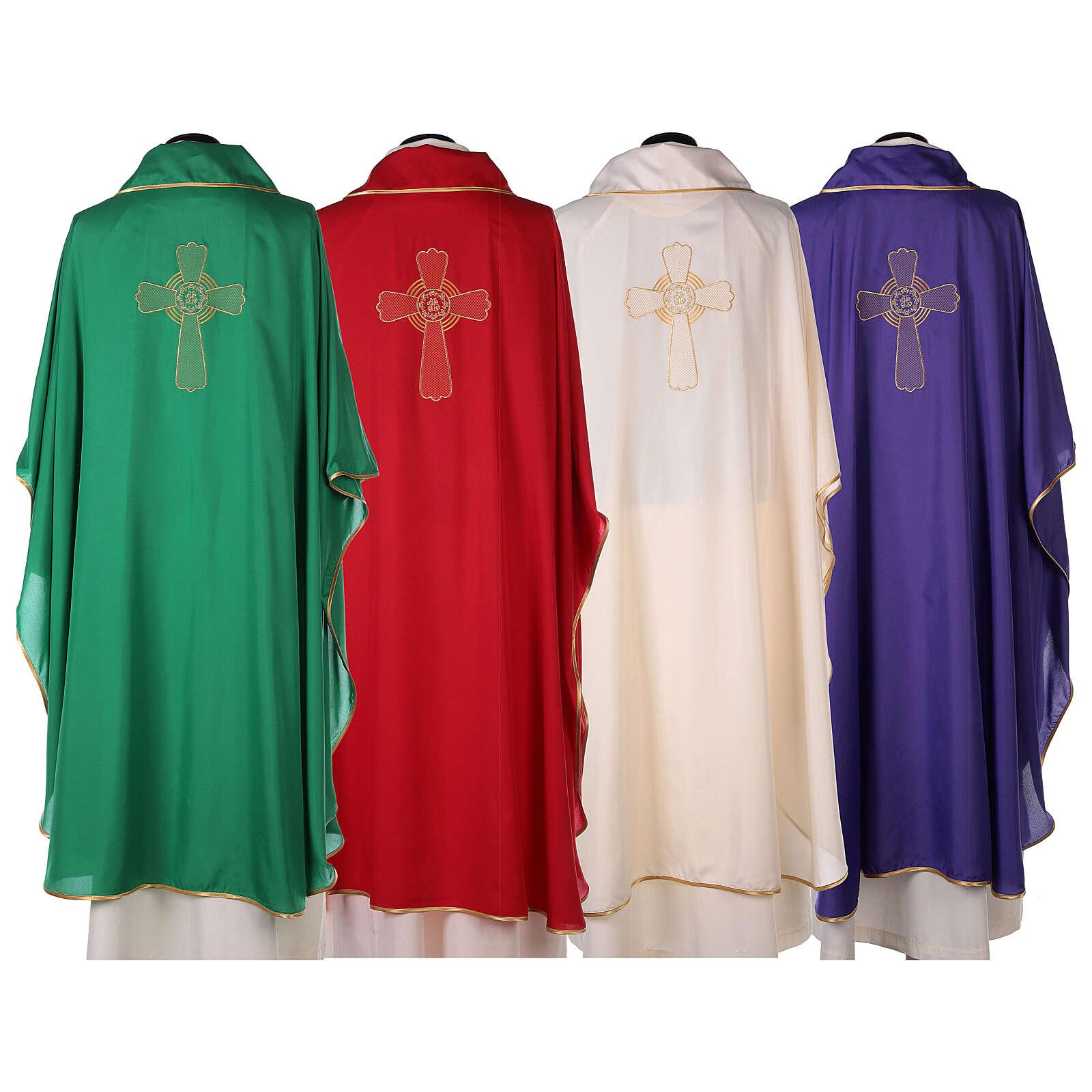 Kasel aus ultraleichtem Polyester, 4 Farben, mit Stickerei verziertes Kreuz, SONDERANGEBOT 4